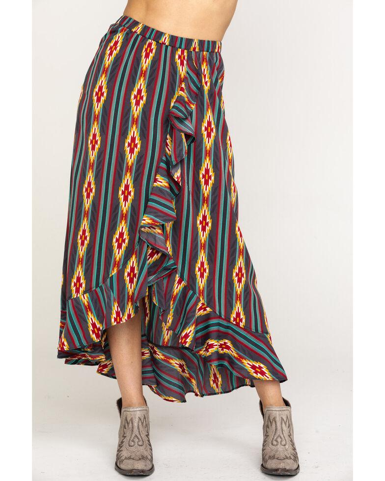 Rock & Roll Cowgirl Women's Faux Wrap Aztec Skirt, Multi, hi-res