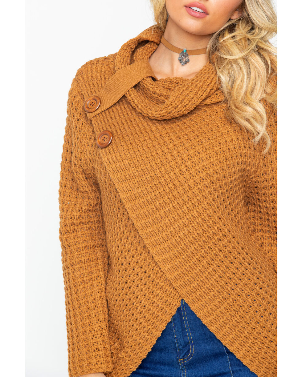 Panhandle Women's Cognac Waffle Knit Crossover Cowl Neck Sweater, Cognac, hi-res