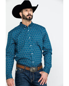 Cody James Core Men's Digital Floral Geo Print Long Sleeve Western Shirt , Royal Blue, hi-res