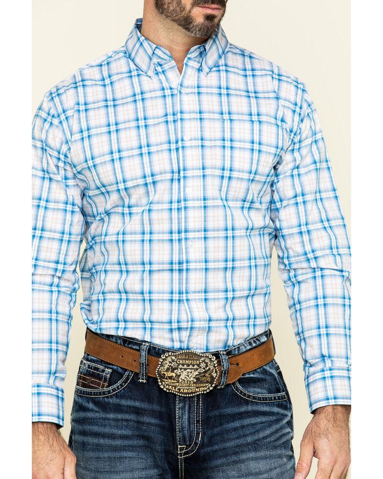 Ely Cattleman Black Label Men's Blue Med Plaid Long Sleeve Western Shirt , Blue, hi-res
