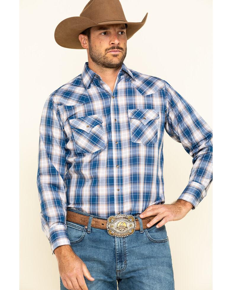 Ely Cattleman Men's Blue Med Plaid Long Sleeve Western Shirt , Blue, hi-res