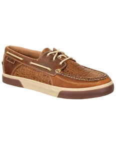 Durango Men's Desert Sand Music City Faux Elephant Boat Shoes - Moc Toe, Distressed Brown, hi-res