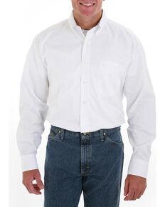 Wrangler George Strait Men's White Long Sleeve Twill Shirt - Tall , White, hi-res