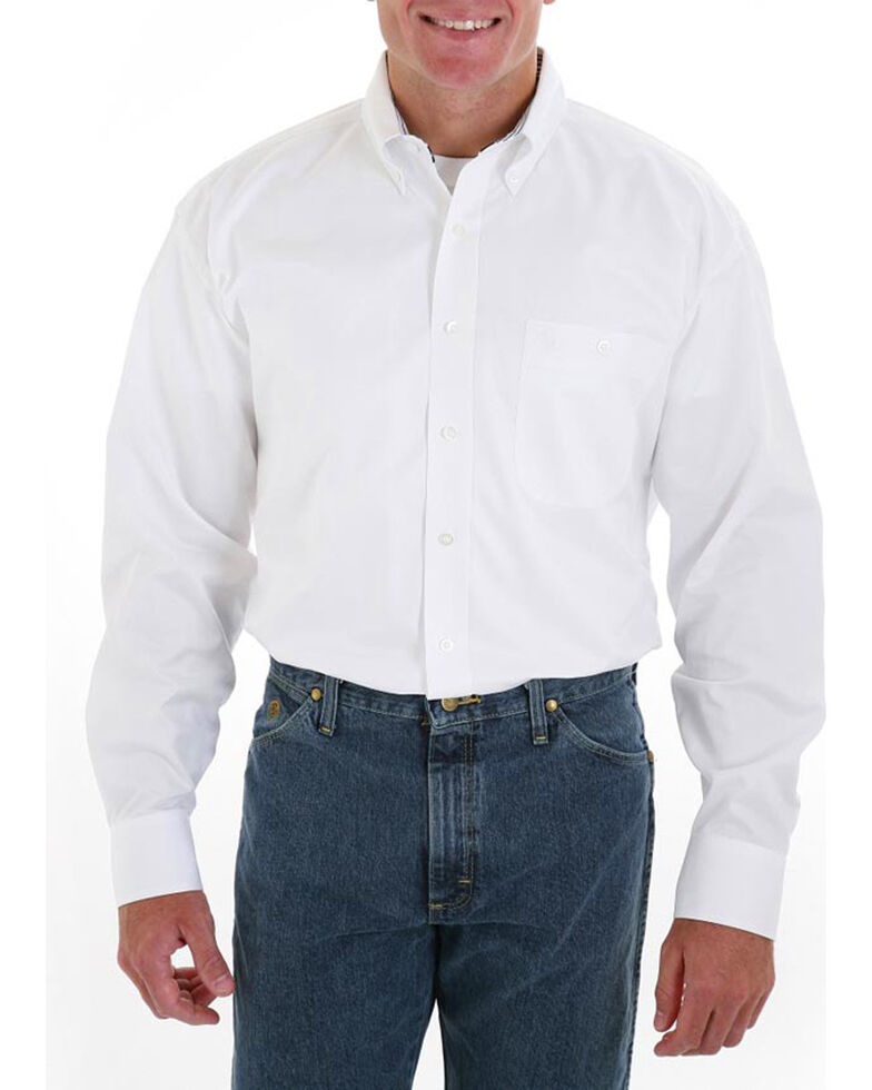 Wrangler George Strait Men's White Long Sleeve Twill Shirt - Tall , White, hi-res