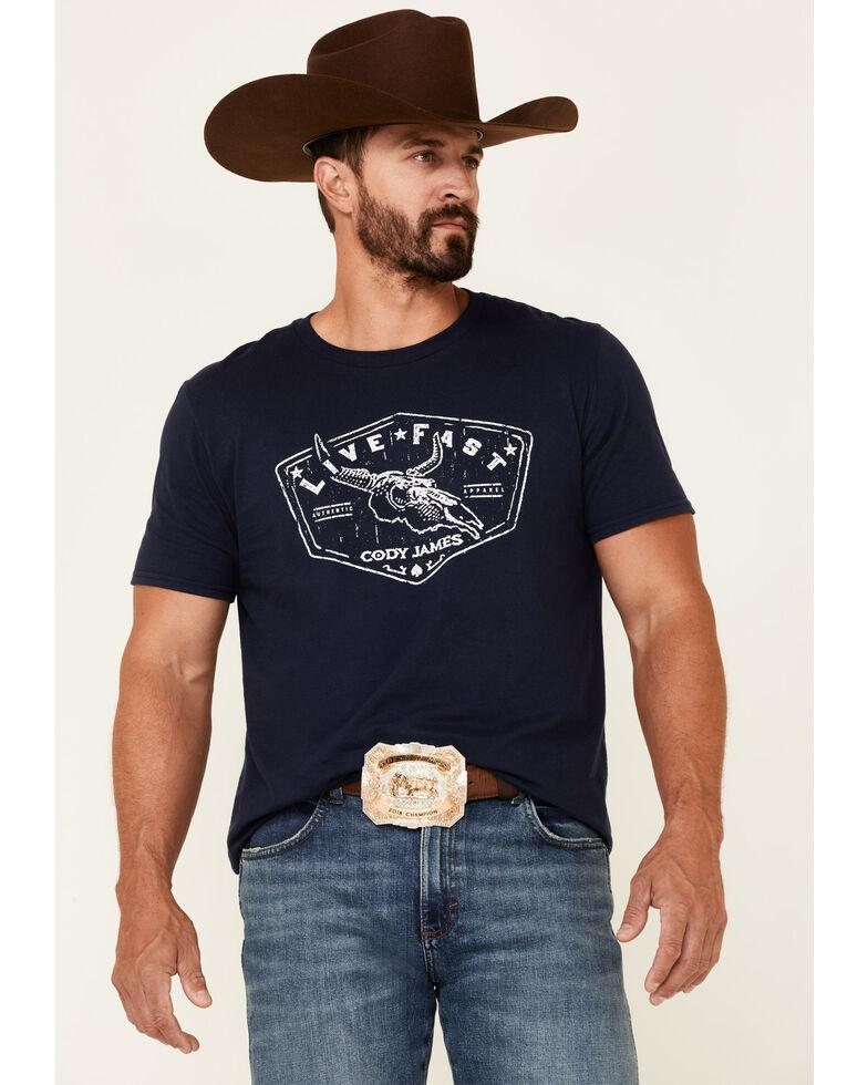 Cody James Men's Navy Live Fast Skull Graphic Short Sleeve T-Shirt , Navy, hi-res