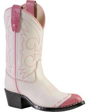 Cody James® Kid's Whip Stitch Western Boots, White, hi-res