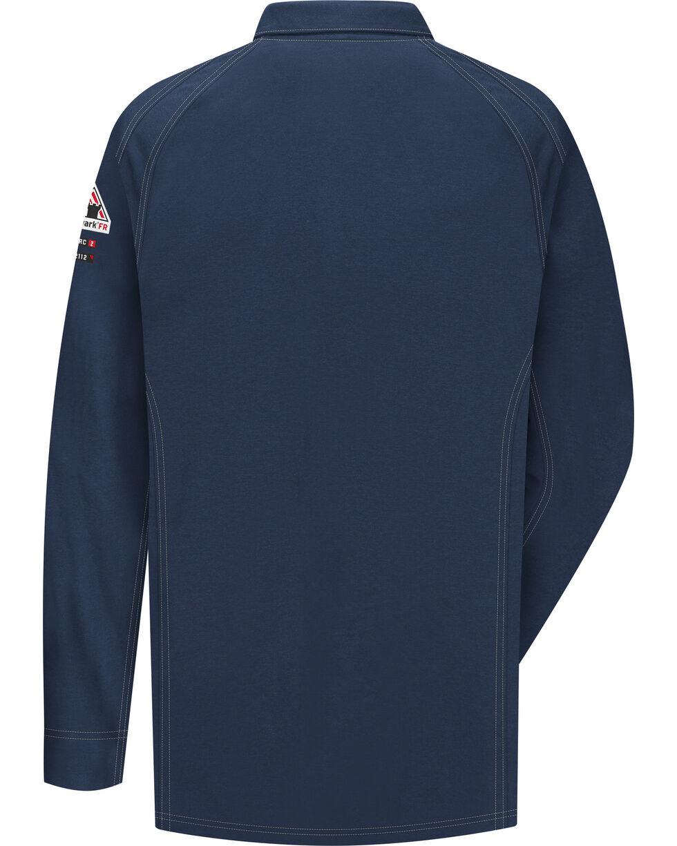 Bulwark Men's Dark Blue iQ Series Flame Resistant Long Sleeve Polo , Dark Blue, hi-res