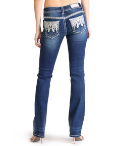 Grace In LA Women's Feather Pocket Dark Boot Jeans , Blue, hi-res