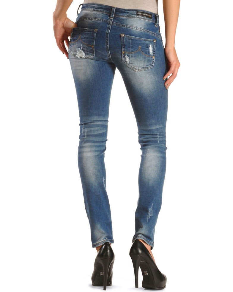 Discount Grace in LA Women's Distressed Destructed Skinny Jeans for cheap