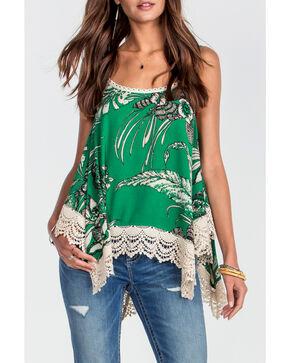 Miss Me Women's Green Lace Trim Cami Top , Green, hi-res