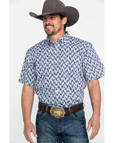 Cody James Core Men's Dragon Geo Print Short Sleeve Western Shirt , Blue, hi-res