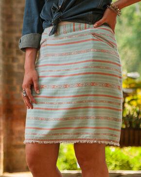 Ryan Michael Women's Aqua Navajo Blanket Skirt , Aqua, hi-res