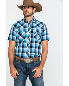 Wrangler Retro Men's Blue Med Plaid Short Sleeve Western Shirt , Light Blue, hi-res