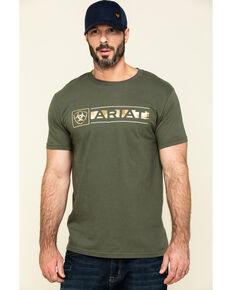 Ariat Men's Green Fragment Buckle Camo Graphic Short Sleeve T-Shirt , Brown, hi-res