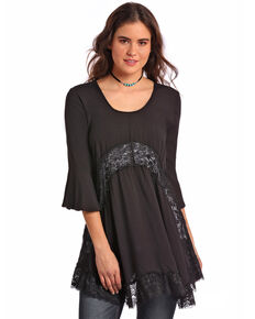 Panhandle Women's Lace Trim Babydoll Tunic Shirt , Black, hi-res