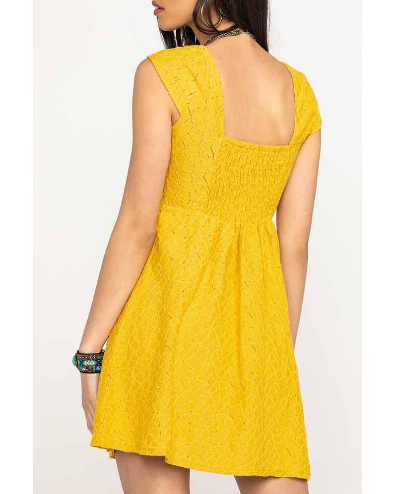 Coco + Jaimeson Women's Mustard Lace Cap Sleeve Dress , Gold, hi-res