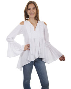 4b8e0621278dde Cantina by Scully Women s Tie Front Cold Shoulder Tunic Top