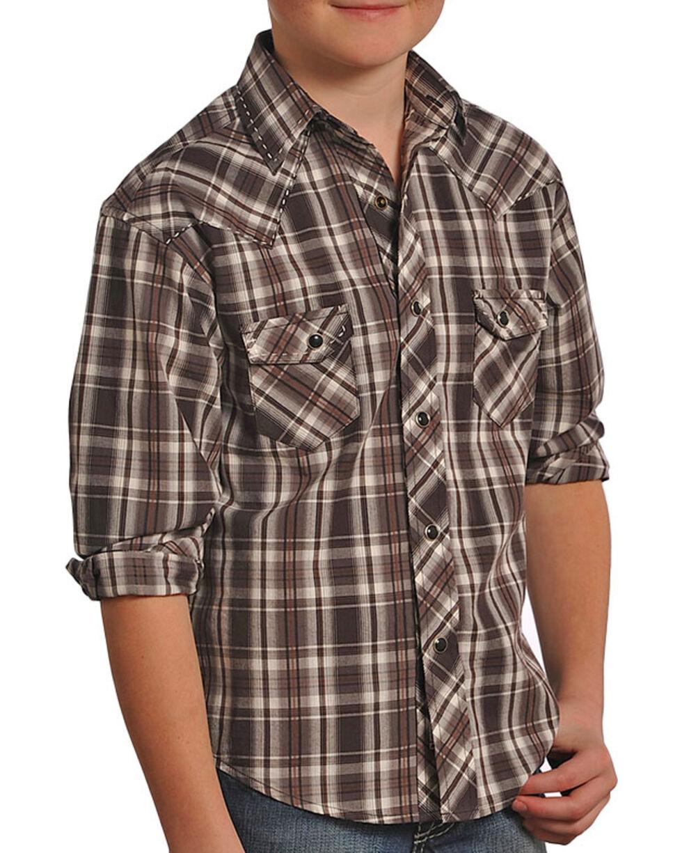 Panhandle Boys' Plaid Printed Long Sleeve Shirt, Brown, hi-res