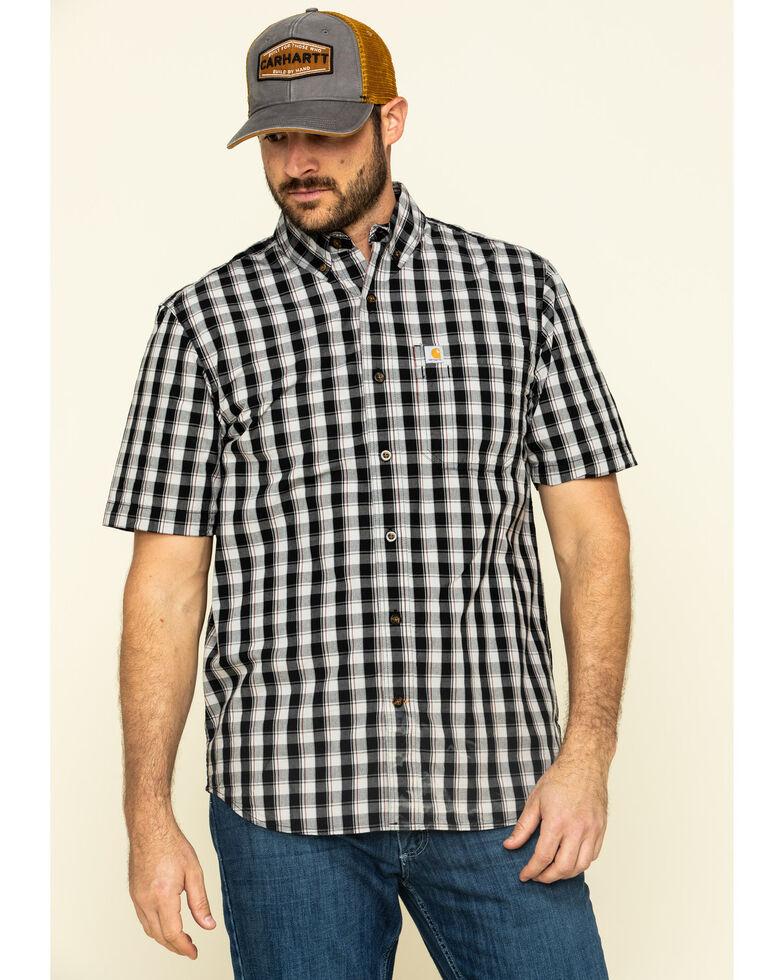 Carhartt Men's Black Essential Plaid Button Down Short Sleeve Work Shirt - Big , Black, hi-res