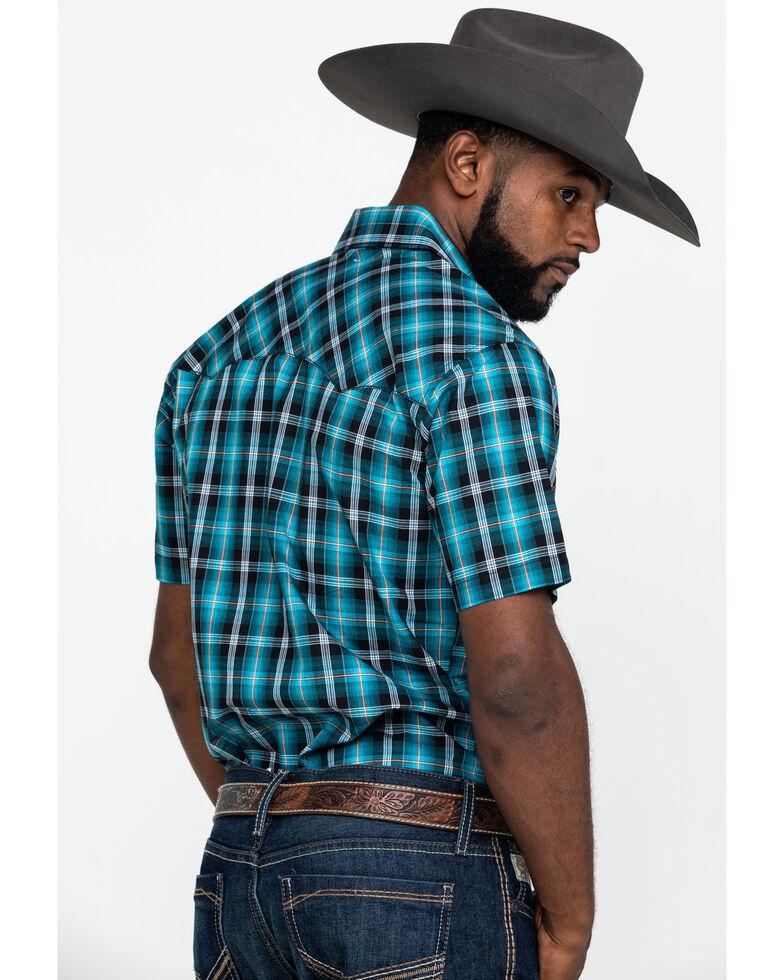 Wrangler Retro Men's Turquoise Small Plaid Short Sleeve Western Shirt , Turquoise, hi-res
