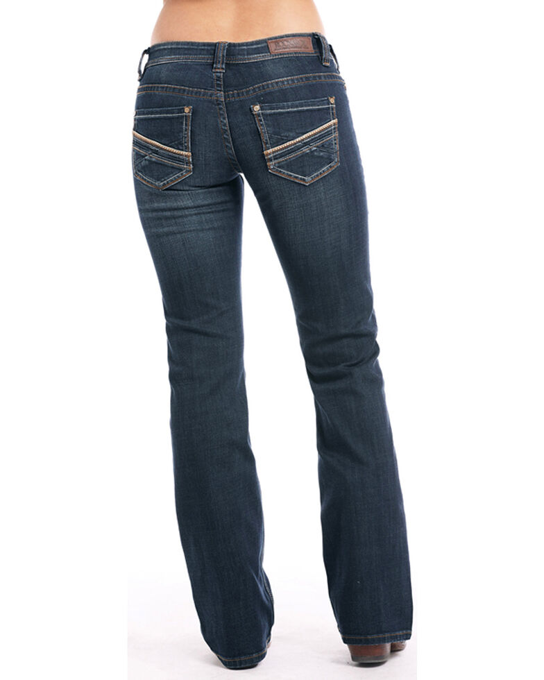 Rock & Roll Cowgirl Women's Leather Accent Boot Cut Riding Jeans , Indigo, hi-res