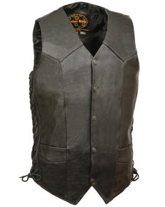 Milwaukee Leather Men's Black Classic Side Lace Biker Vest - Tall , Black, hi-res