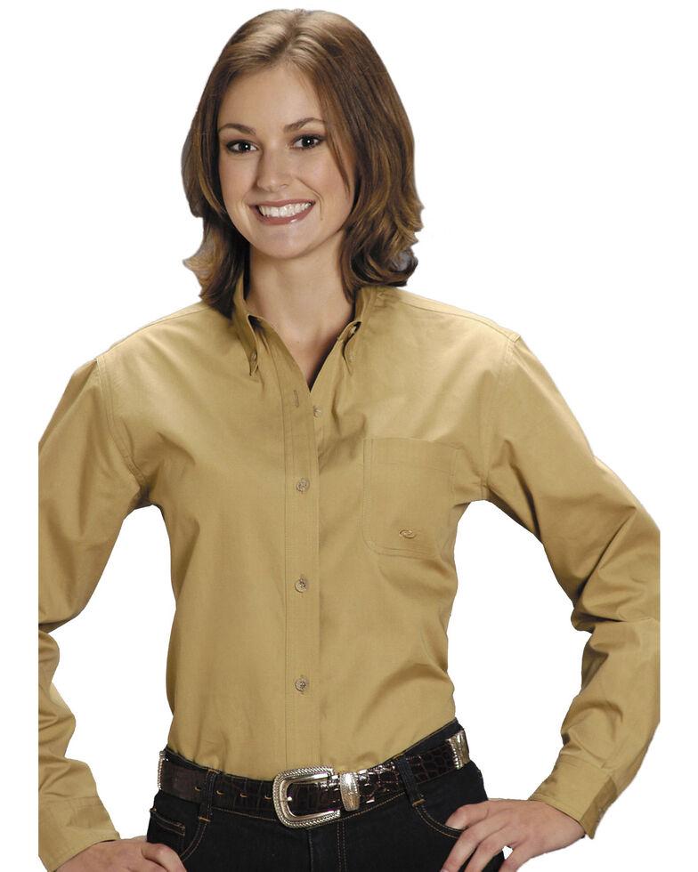 Roper Women's Amarillo Solid Button-Down Poplin Shirt - Plus, Khaki, hi-res