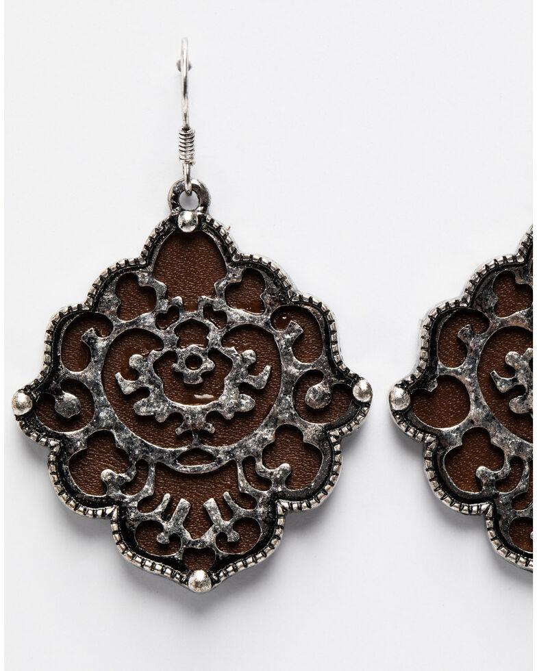 Shyanne Women's Summer Escape Leather Diamond Filigree Earrings, Silver, hi-res