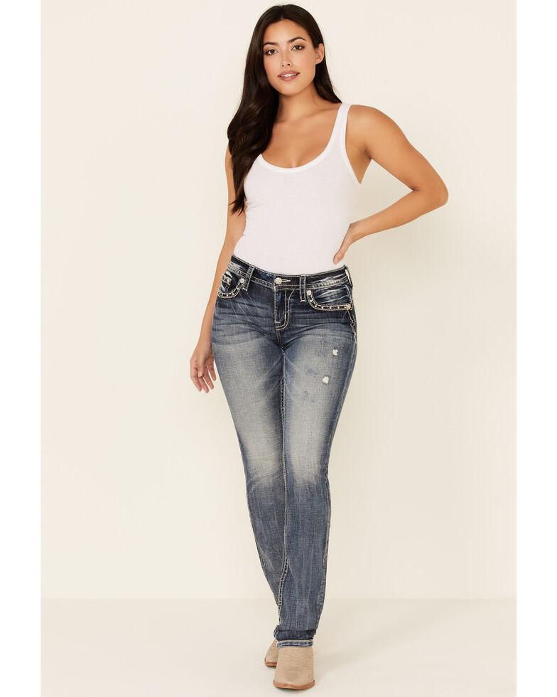 Miss Me Women's Studded Straight Leg Jeans, Dark Blue, hi-res