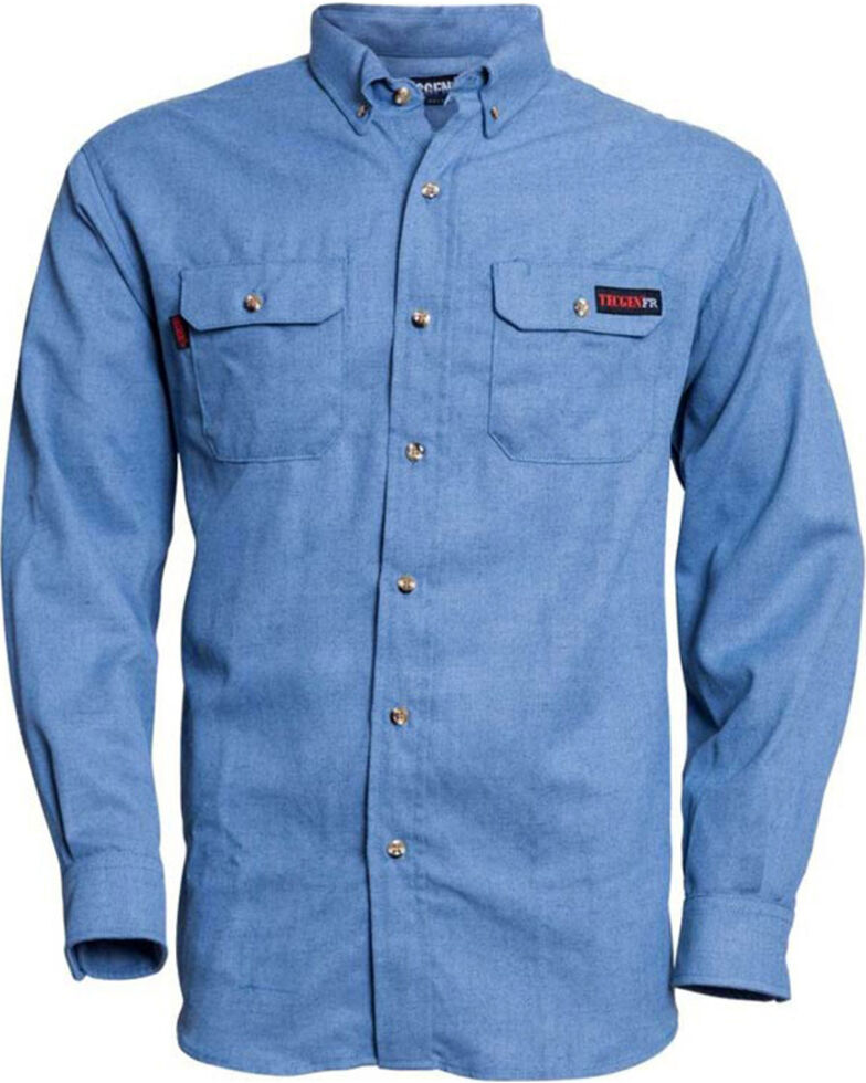 Tecgen Men's Blue FR Work Shirt , Blue, hi-res