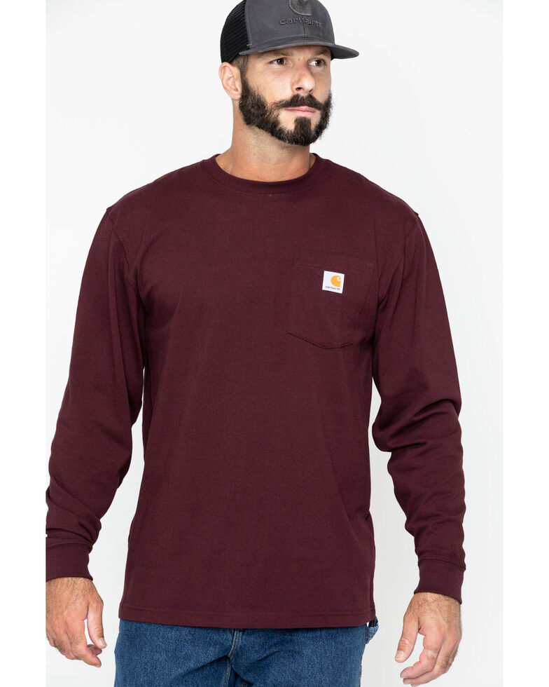 Carhartt Men's Solid Pocket Long Sleeve Work T-Shirt, Port, hi-res