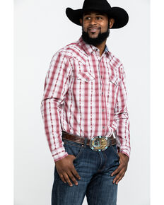 Cody James Men's Rodeo Rider Plaid Long Sleeve Western Shirt - Tall , Red, hi-res