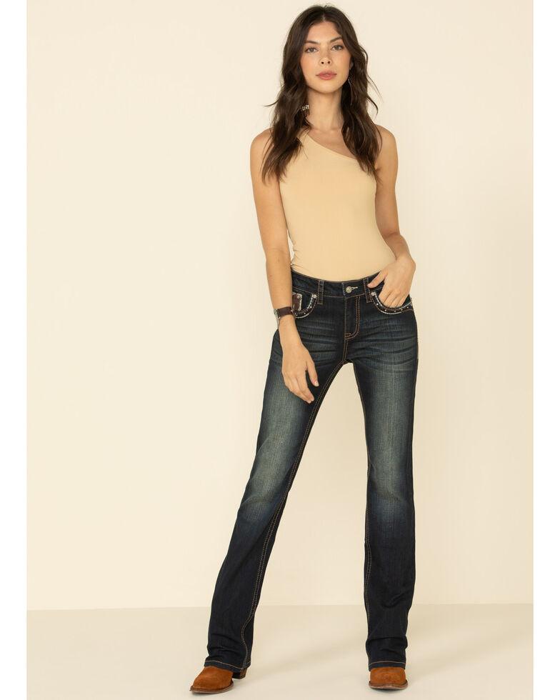 Grace in LA Women's Faux Cow Hide Flap Bootcut Jeans, Blue, hi-res