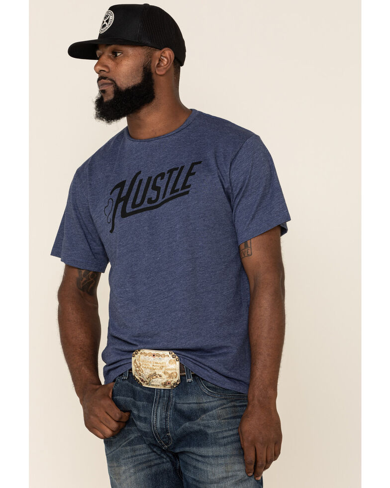 HOOey Men's Blue Hustle Graphic T-Shirt , Blue, hi-res