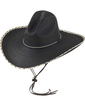 Larry Mahan Black 30X Pancho Gus Palm Straw Western Hat, Black, hi-res