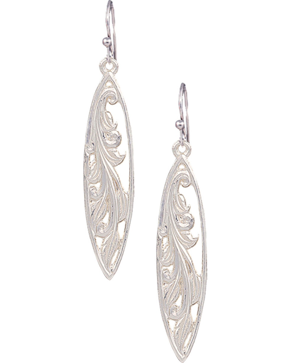 Montana Silversmiths Western Marquis Grace Earrings, Silver, hi-res