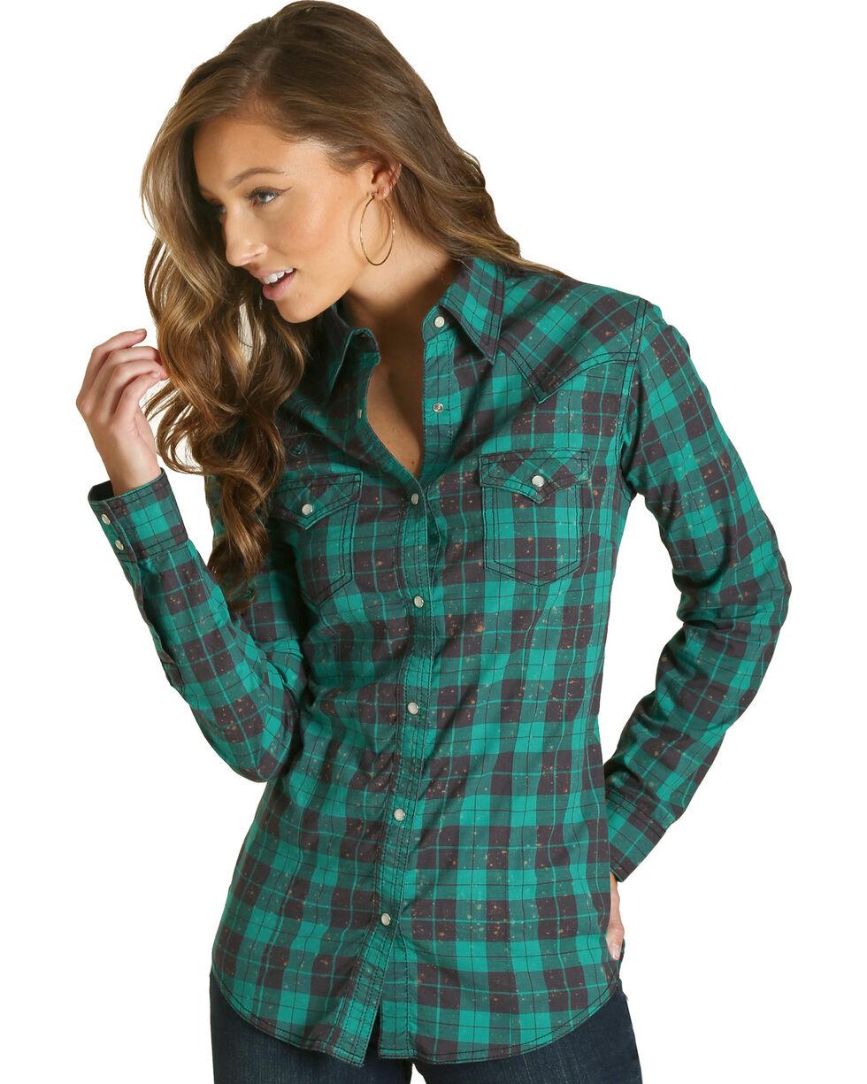 Wrangler Women's Green Plaid Western Shirt , Green, hi-res