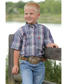 Cinch Boys' Multi Small Plaid Short Sleeve Western Shirt , Multi, hi-res