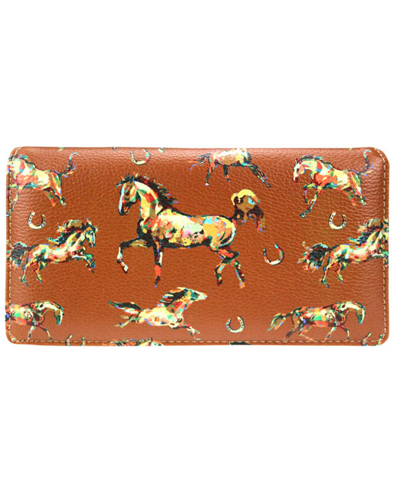 Montana West Women's Brown Horse Collection Secretary Wallet , Brown, hi-res