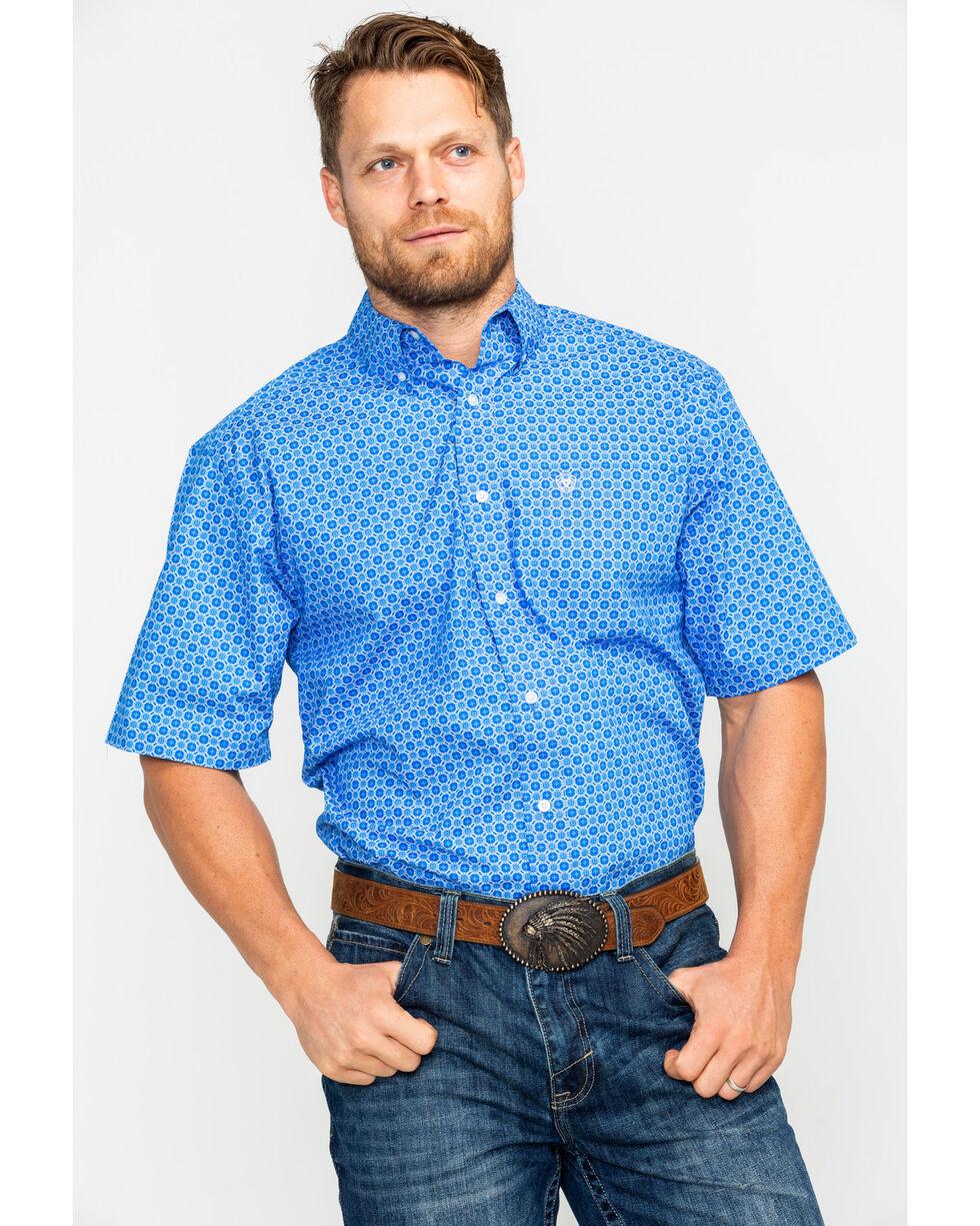 Ariat Men's Egon Geo Print Long Sleeve Western Shirt , Blue, hi-res