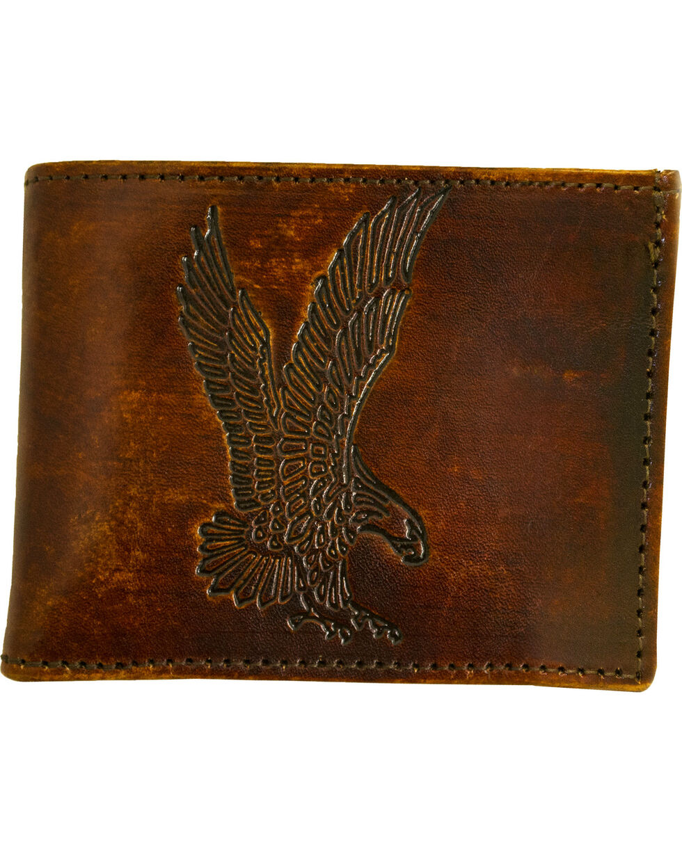 Western Express Men's Brown Leather Eagle Billfold , Brown, hi-res