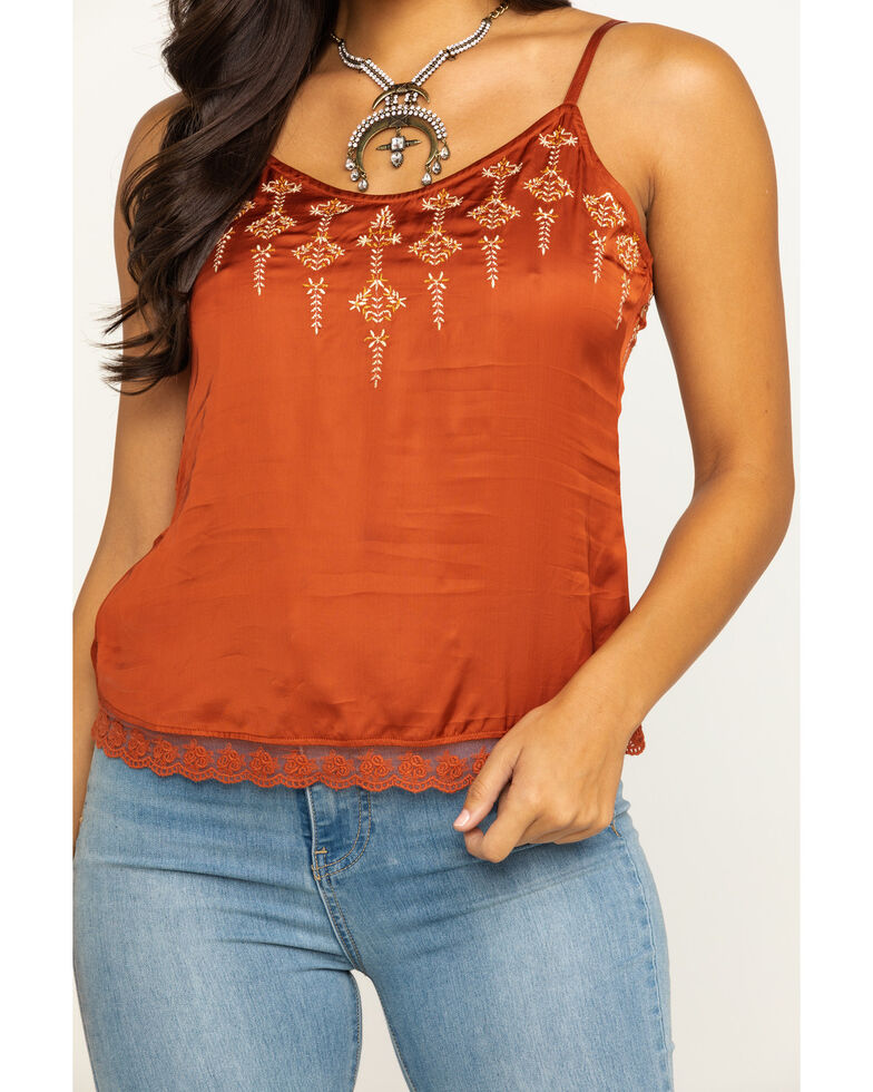 Shyanne Women's Rust Satin Embroidered Cami, Rust Copper, hi-res