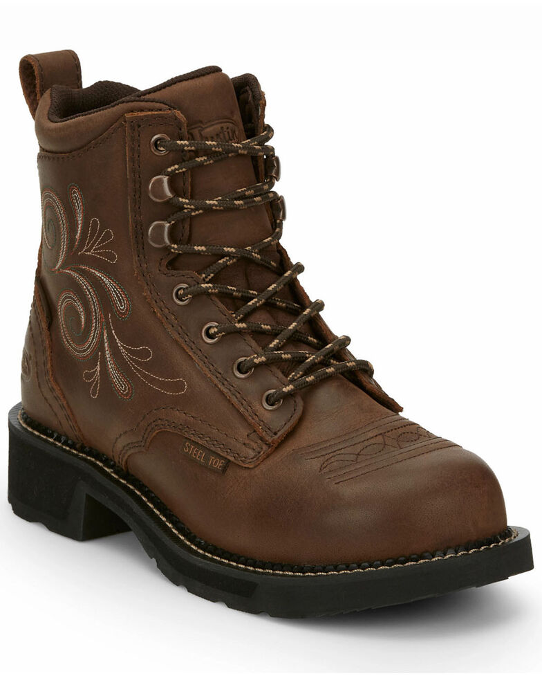 Justin Women's Katerina Waterproof Work Boots - Steel Toe, Brown, hi-res