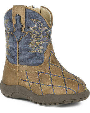 Roper Infant Boys' Tan Cross Cut Crib Boots - Round Toe, Tan, hi-res