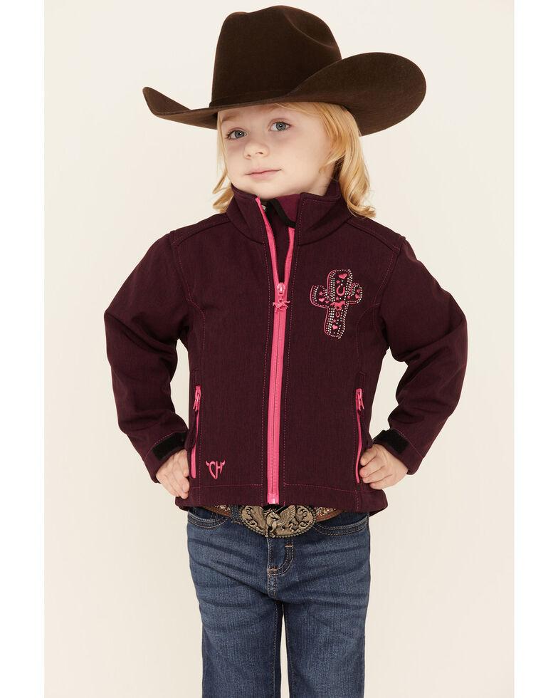 Cowgirl Hardware Infant Girls' Burgundy Embroidered Cactus Zip-Front Softshell Jacket , Burgundy, hi-res