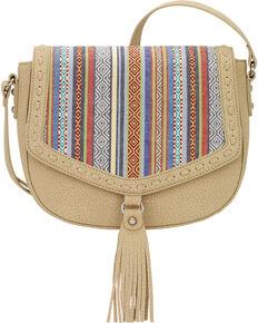 Bandana by American West Women's Boho Denim Flap Crossbody Bag, Sand, hi-res