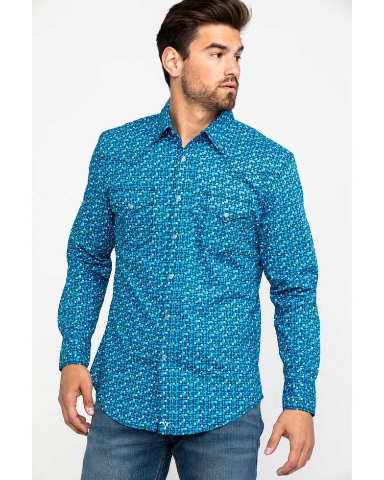 Wrangler 20X Men's Advanced Comfort Competition Geo Print Long Sleeve Western Shirt , Blue, hi-res