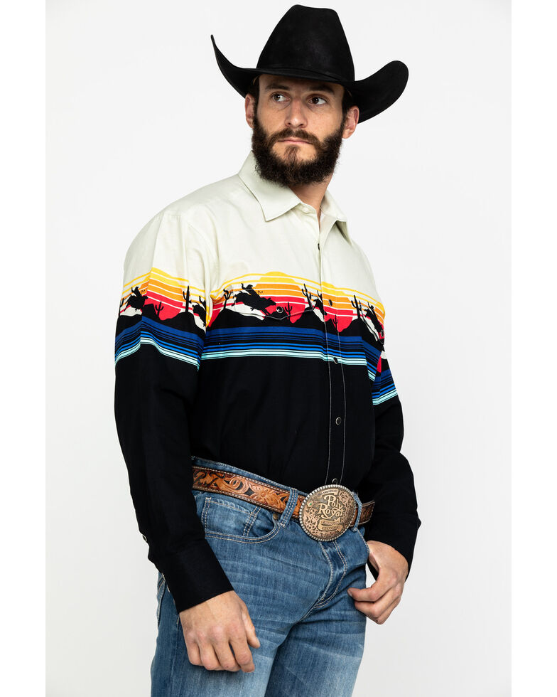 Panhandle Men's Natural Rodeo Border Print Long Sleeve Western Shirt , Natural, hi-res
