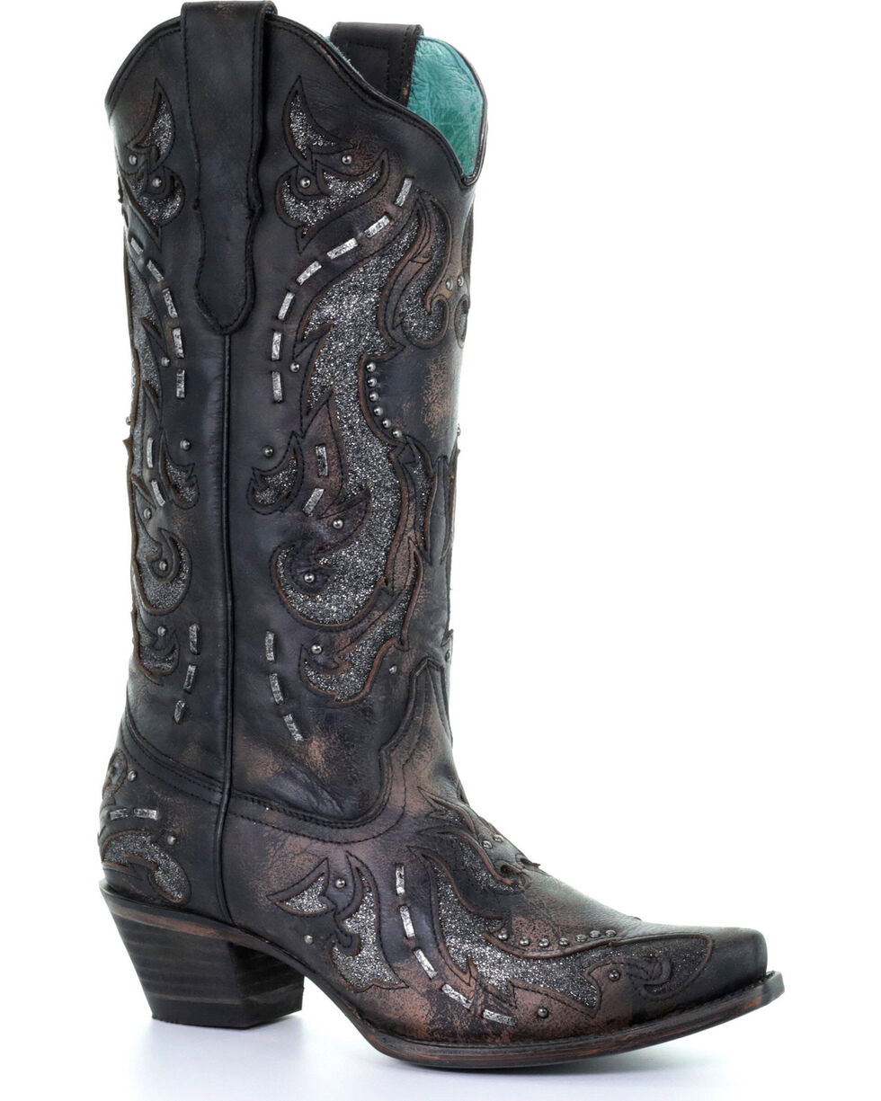 Corral Women's Black Glittered Inlay & Stud Boots - Snip Toe , Black, hi-res