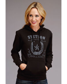 Stetson Women's Black Horseshoe Logo Hoodie, Black, hi-res